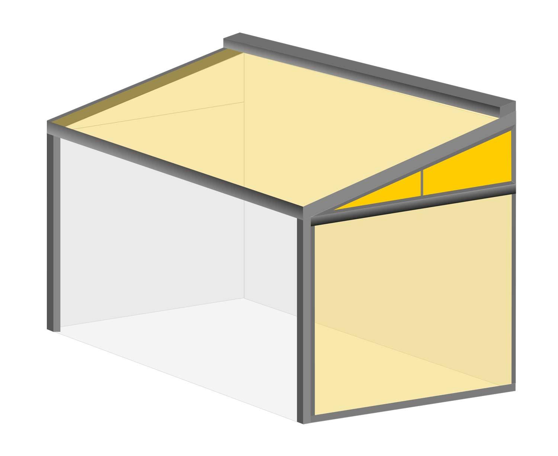 Terrasseneinhausung: Dreieckslösung